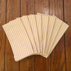 Set of 8 Pottery Barn yellow stripe cotton napkins